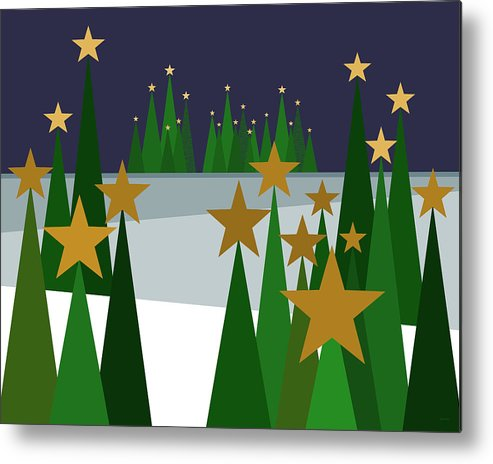 Twinkling Forest Metal Print featuring the digital art Twinkling Forest by Val Arie