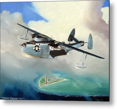 Military Metal Print featuring the painting Uncle Bubba's Flying Boat by Marc Stewart