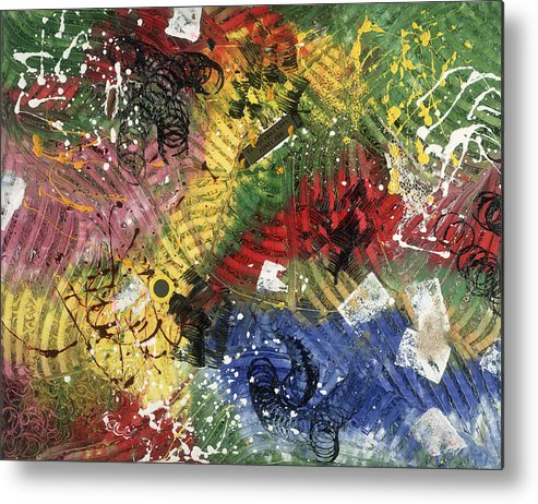 Abstract Metal Print featuring the painting Une Visite Vous Convaincra by Dominique Boutaud