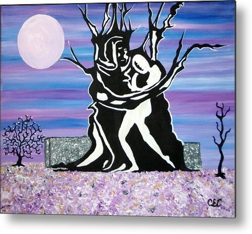 Moon Metal Print featuring the painting Union by Carolyn Cable