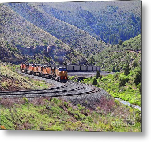 Union Pacific Metal Print featuring the photograph Union Pacific Coal Train In Kyune Utah by Malcolm Howard