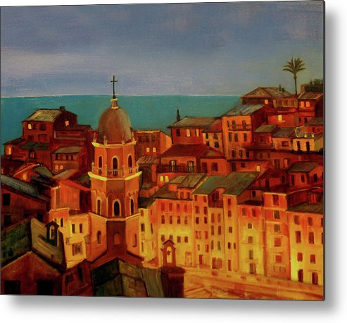 Landscape Metal Print featuring the painting Vernazza Twilight by Norah Brown