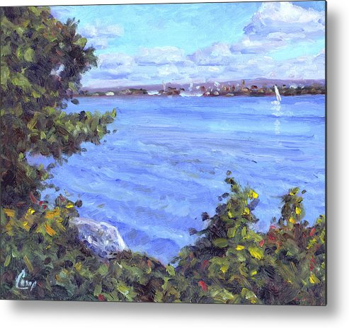 Erie Metal Print featuring the painting View Of Erie by Michael Camp
