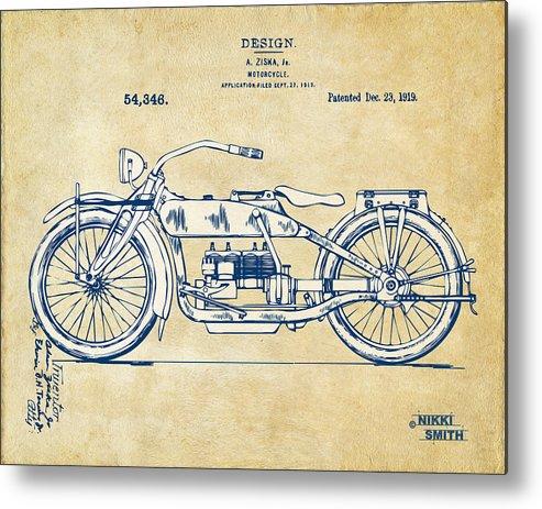 Harley-davidson Metal Print featuring the digital art Vintage Harley-davidson Motorcycle 1919 Patent Artwork by Nikki Smith