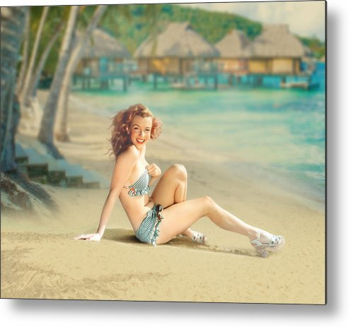 Vintage Metal Print featuring the photograph Marilyn Monroe by Cindy Grundsten