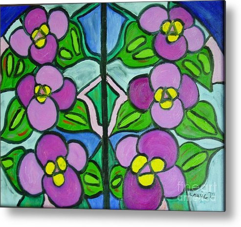 Violets Metal Print featuring the painting Vintage Violets by Laurie Morgan