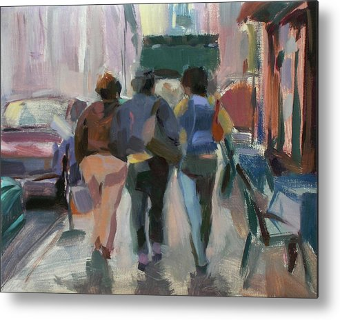 Figurative Metal Print featuring the painting Walking In Chelsea by Merle Keller