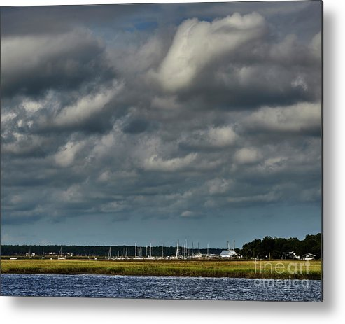 Clouds Metal Print featuring the photograph Water, Clouds And Sun. by Stanton Tubb