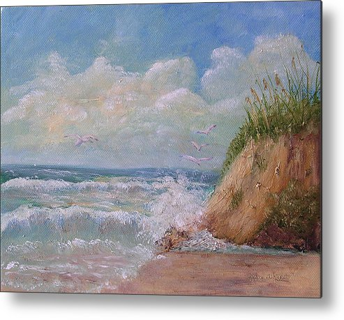 Seagulls Metal Print featuring the painting Waves by Barbara Harper