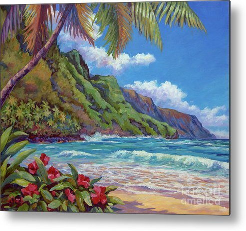 Kauai Metal Print featuring the painting Waves On Na Pali Shore by John Clark