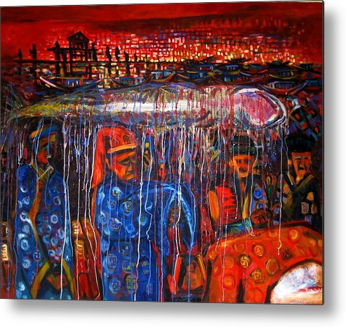 Cultural Metal Print featuring the painting Whale Festival Procession To The Shore by TrongAnh Gallery Artgallery