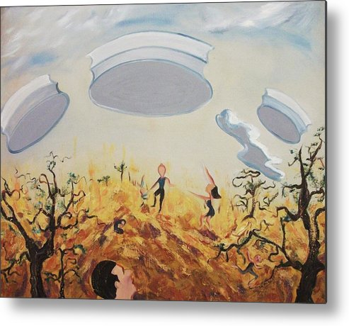 Ufo Metal Print featuring the painting What's There by Suzanne Marie Leclair