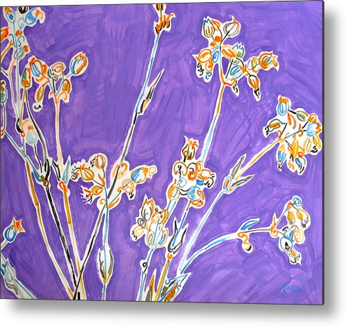 Wild Metal Print featuring the painting Wild Flowers On Lilac by Vitali Komarov