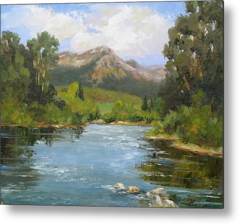 Landscape Metal Print featuring the painting Willow Grove On The Blue River by Barrett Edwards