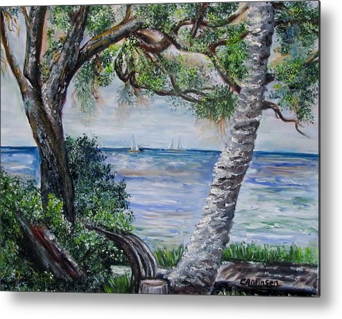 Water Metal Print featuring the painting Window On Pine Island by Carol Allen Anfinsen