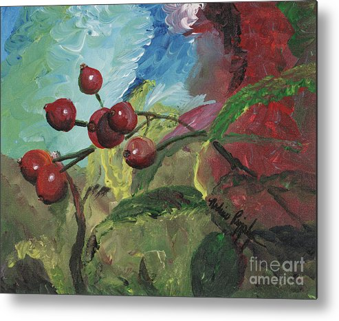Berries Metal Print featuring the painting Winter Berries by Nadine Rippelmeyer