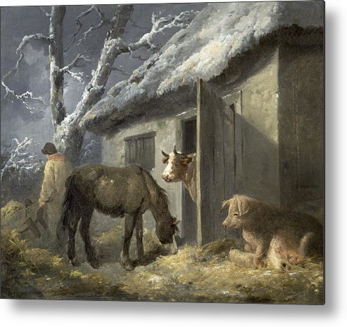 Winter Metal Print featuring the painting Winter Farmyard by George Morland