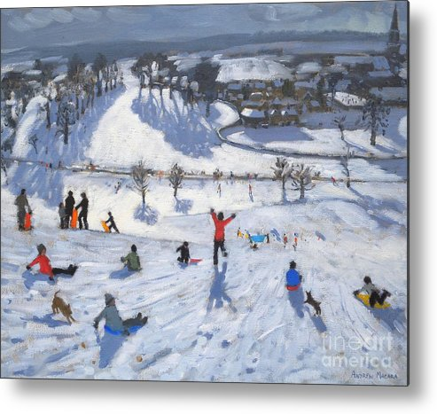 Winter Fun Metal Print featuring the painting Winter Fun by Andrew Macara