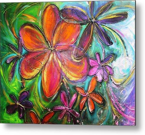 Flower Metal Print featuring the painting Winter Glow Flower Painting by Chris Hobel