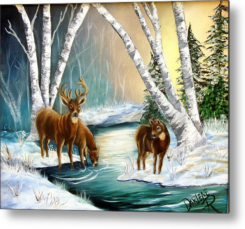 Winter Metal Print featuring the painting Winter Morning Walk by Darlene Green