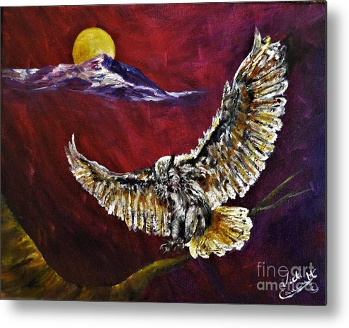 Moon Metal Print featuring the painting Wisdom Listens by Vicki Caucutt
