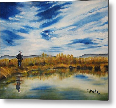 Landscape Metal Print featuring the painting Wishing I Was Fishing by Roberta Martin