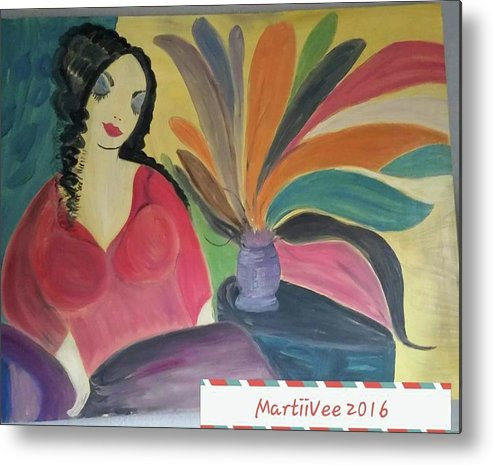 Woman Metal Print featuring the painting Woman by MartiiVee Pierce