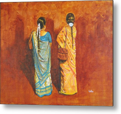 Women Metal Print featuring the painting Women In Sarees by Usha Shantharam