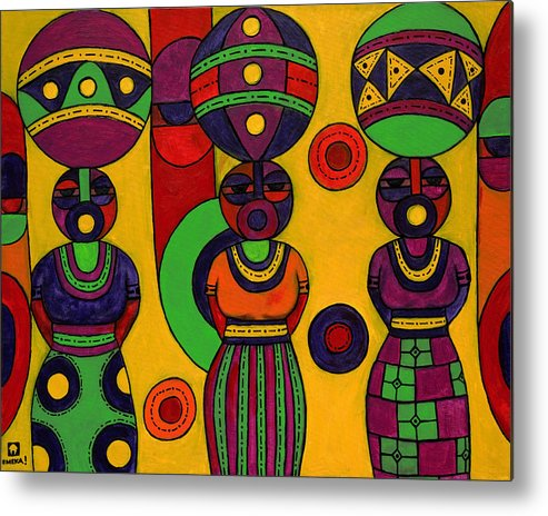 Women Metal Print featuring the painting Women With Calabashes II by Emeka Okoro