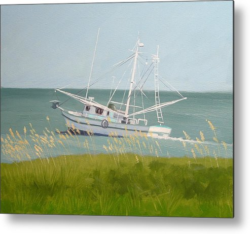 Shrimp Boat Metal Print featuring the painting Working In Close by Robert Rohrich