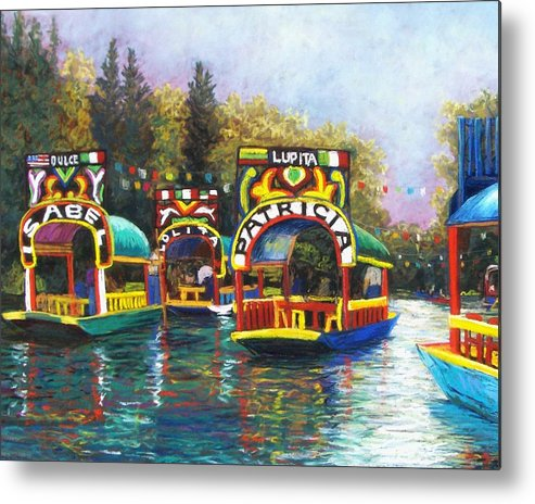 Landscape Metal Print featuring the pastel Xochimilco by Candy Mayer