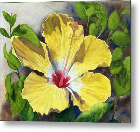 Floral Metal Print featuring the painting Yellow Hibiscus by Robert Thomaston