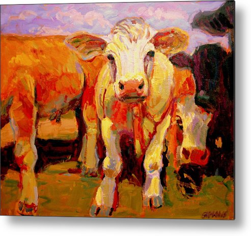 Cows Metal Print featuring the painting Young Cow by Brian Simons