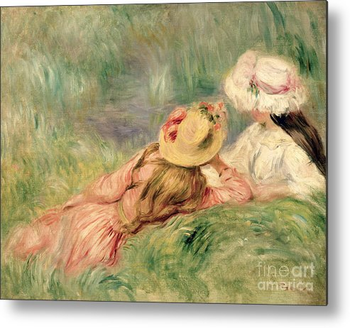 Young Metal Print featuring the painting Young Girls On The River Bank by Pierre Auguste Renoir