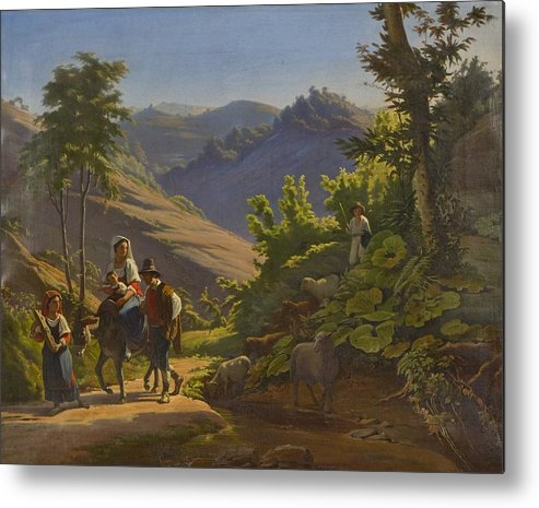 Johan Blackstadius (1816-1898) Metal Print featuring the painting Landscape by MotionAge Designs