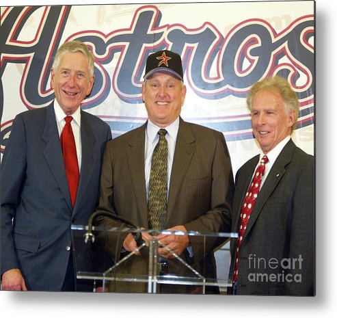 People Metal Print featuring the photograph Houston Astros Sign Nolan Ryan To by Bob Levey