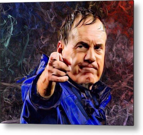 American Football Metal Print featuring the digital art Bill Stephen Belichick Portrait by Scott Wallace Digital Designs