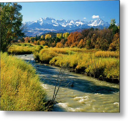 San Juan Mountains Metal Print featuring the photograph Colorado Mountains And Stream by Mark Miller Photos
