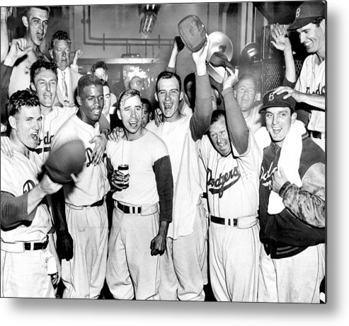 Horizontal Metal Print featuring the photograph Dodgers Celebrate In The Clubhouse by New York Daily News Archive