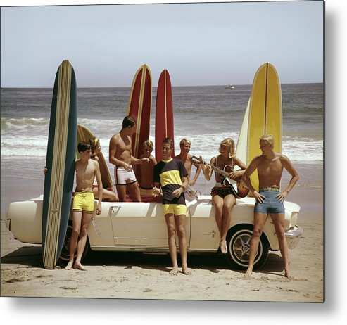 California Metal Print featuring the photograph Guys And Gals On The Beach by Tom Kelley Archive