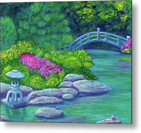 Japan Metal Print featuring the painting Japanese Garden by Laura Zoellner