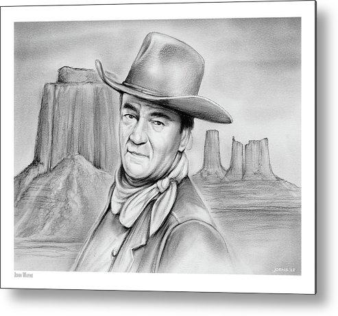 John Wayne Metal Print featuring the drawing John Wayne 07oct18 by Greg Joens