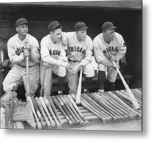 People Metal Print featuring the photograph Members Of The Chicago Cubs by Chicago History Museum