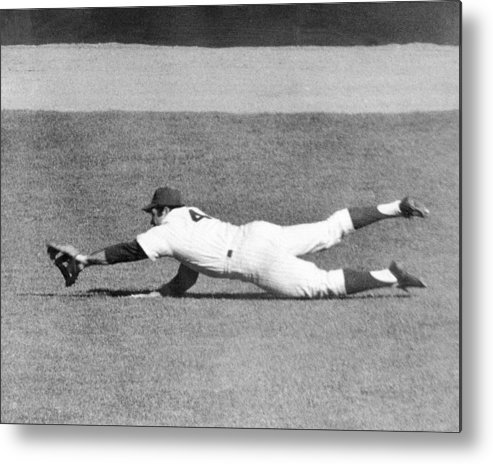 Ninth Inning Metal Print featuring the photograph Mets Ron Swoboda Dives To Stab Brooks by New York Daily News Archive