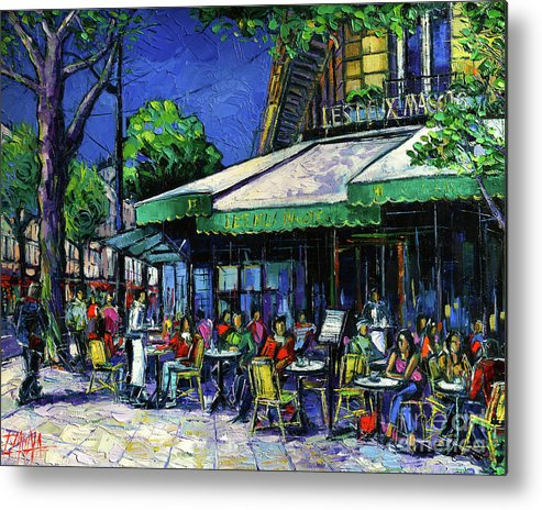 Les Deux Magots Metal Print featuring the painting Parisian Cafe by Mona Edulesco