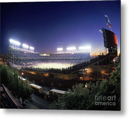 National League Baseball Metal Print featuring the photograph Philadelphia Phillies V Chicago Cubs by Jerry Driendl