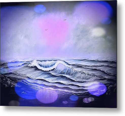 Blue Metal Print featuring the painting Seascape Enchantment Glow Stardust Blue by Angela Whitehouse