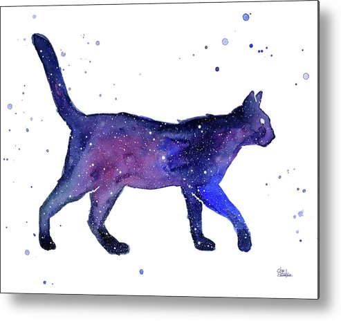 Space Metal Print featuring the painting Space Cat by Olga Shvartsur