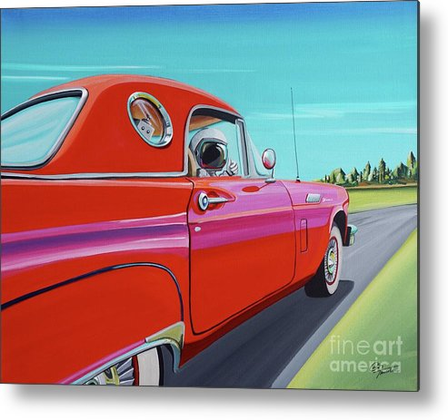 Car Metal Print featuring the painting Thunderbird by Cindy Thornton
