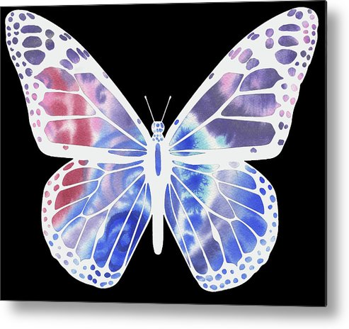 Butterfly Metal Print featuring the painting Watercolor Butterfly On Black V by Irina Sztukowski